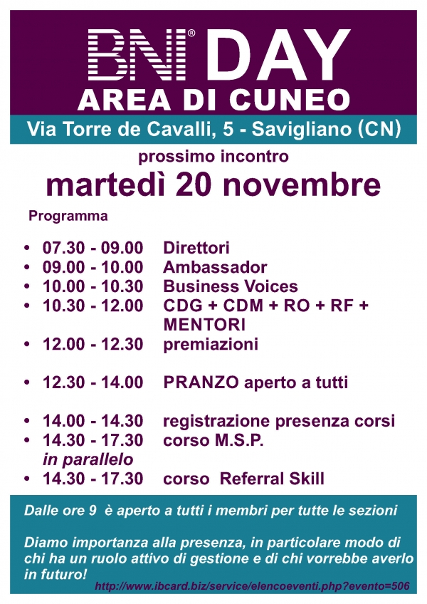 BNI DAY - Area Cuneo