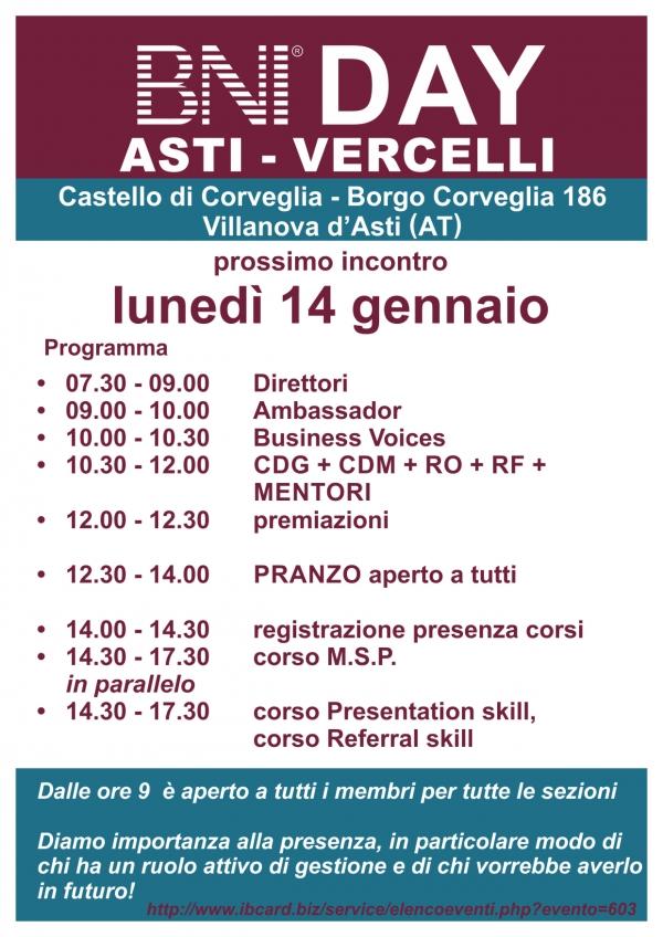 BNI DAY - Area Vercelli e Asti - Gennaio 2019