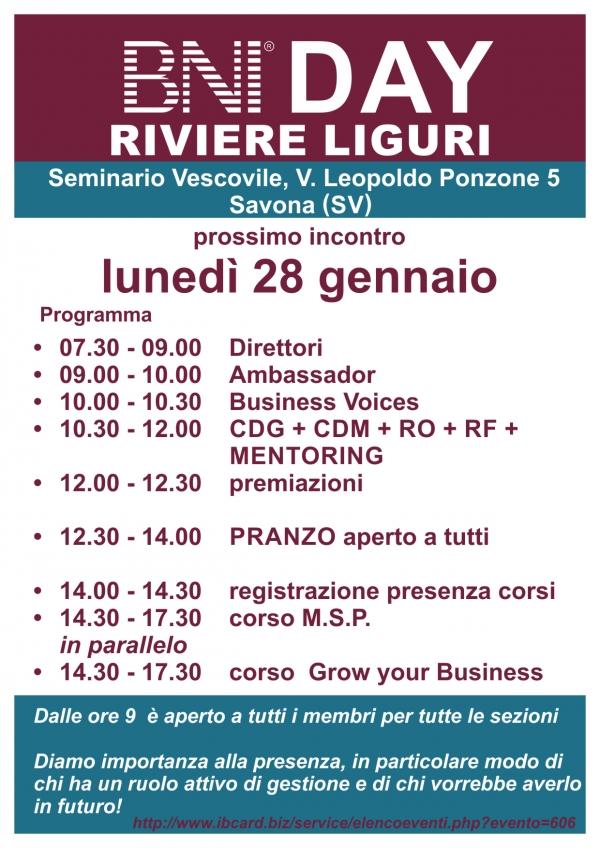 BNI DAY - Area Riviere Liguri - Gennaio 2019