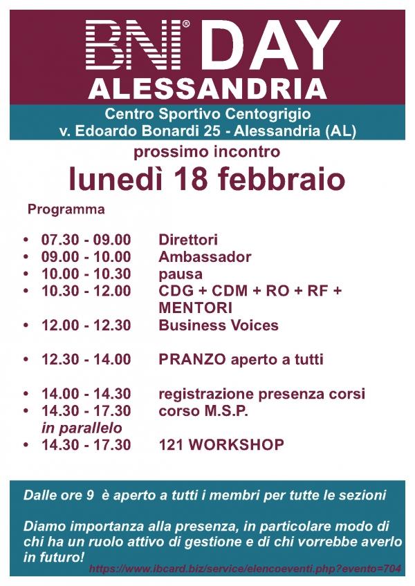 BNI DAY - Region Alessandria - febbraio  2019